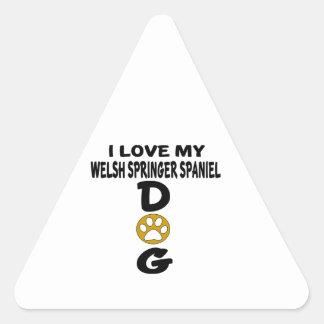 I Love My Welsh Springer Spaniel Dog Designs Triangle Sticker