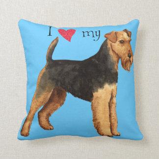 I Love my Welsh Terrier Throw Cushions
