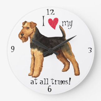 I Love my Welsh Terrier Wall Clocks