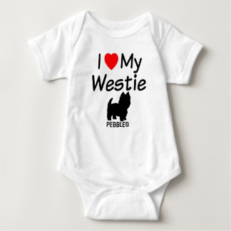 I Love My Westie Dog Baby Bodysuit