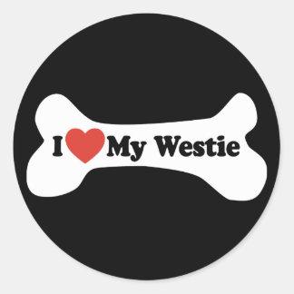 I Love My Westie - Dog Bone Classic Round Sticker