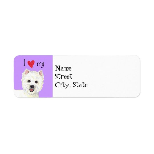 I Love my Westie Return Address Label