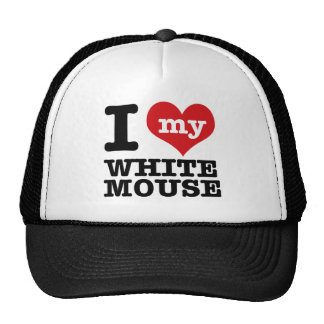 I Love my white mouse Trucker Hats