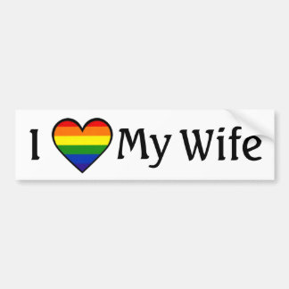 I Love My Wife <3 Lesbian Bumper Sticker