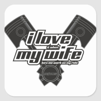 I love my wife - RIDE Square Sticker