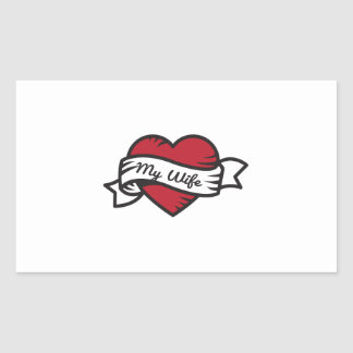 I Love My Wife Tattoo Rectangular Sticker