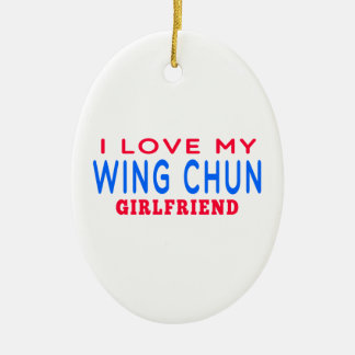 I Love My Wing Chun Girlfriend Double-Sided Oval Ceramic Christmas Ornament