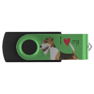I Love my Wire Fox Terrier USB Flash Drive