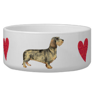I Love my Wirehaired Dachshund Dog Food Bowl