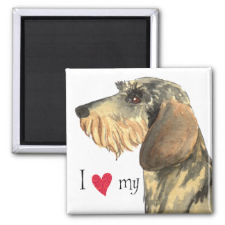I Love my Wirehaired Dachshund Square Magnet