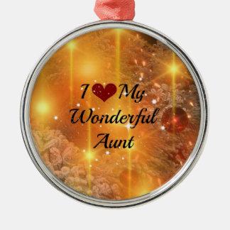 I Love My Wonderful Aunt - Christmas Golden Glow Metal Ornament
