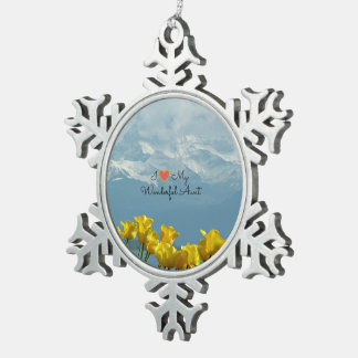 I Love My Wonderful Aunt, Sunshine Yellow Tulips Snowflake Pewter Christmas Ornament