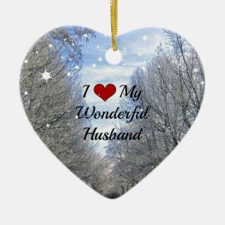 I Love My Wonderful Husband - Snowy Winter Day Ceramic Heart Decoration