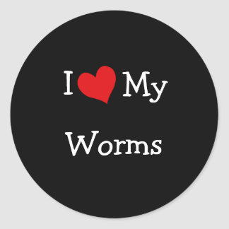 I Love My Worms Classic Round Sticker