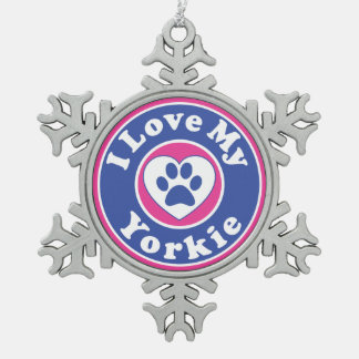 I Love My Yorkie Dog Puppy Puppies Yorkshire Snowflake Pewter Christmas Ornament