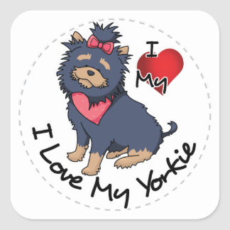 I Love My Yorkie Dog Square Sticker