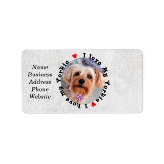 I love my Yorkie Female Yorkshire Terrier Dog Address Label