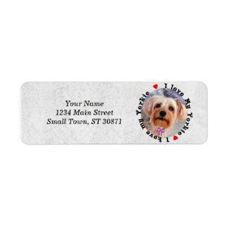 I love my Yorkie Female Yorkshire Terrier Dog Return Address Label