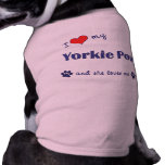 I Love My Yorkie Poo (Female Dog) Sleeveless Dog Shirt