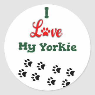I Love My Yorkie Small Sticker