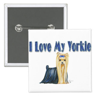 I Love My Yorkie Yorkshire Terrier Button Pin