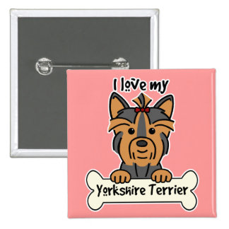 I Love My Yorkshire Terrier Pins