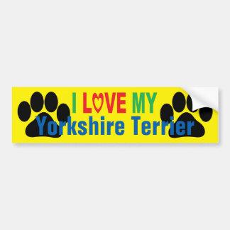 I Love My Yorkshire Terrier Bumper Sticker Car Bumper Sticker