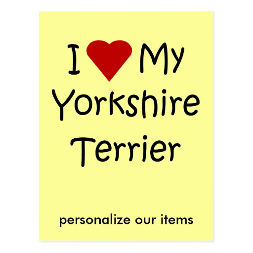 I Love My Yorkshire Terrier Dog Breed Lover Gifts Postcards