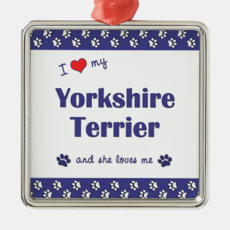 I Love My Yorkshire Terrier (Female Dog) Silver-Colored Square Decoration
