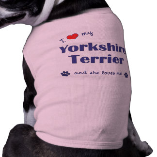 I Love My Yorkshire Terrier (Female Dog) Sleeveless Dog Shirt