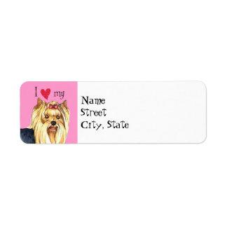 I Love my Yorkshire Terrier Return Address Label
