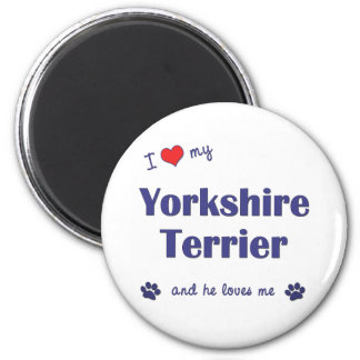 I Love My Yorkshire Terrier (Male Dog) 6 Cm Round Magnet