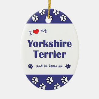 I Love My Yorkshire Terrier (Male Dog) Christmas Ornaments