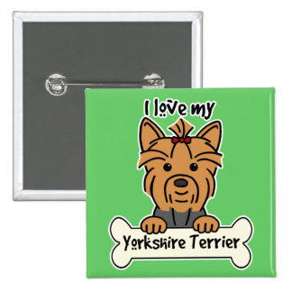 I Love My Yorkshire Terrier Pinback Button