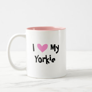 I Love My Yorkshire Terrier (short hair with bow) Two-Tone Coffee Mug