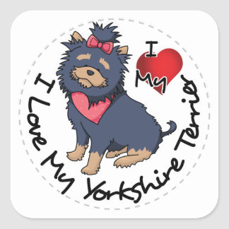I-Love-My-Yorkshire-Terrier Square Sticker