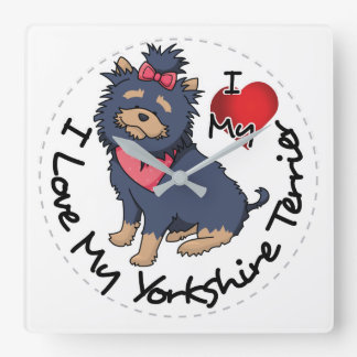 I-Love-My-Yorkshire-Terrier Square Wall Clock