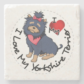 I-Love-My-Yorkshire-Terrier Stone Beverage Coaster