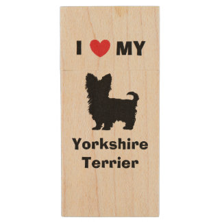 """I Love My Yorkshire Terrier"" Wood Flash Drive Wood USB 2.0 Flash Drive"