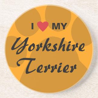 I Love My Yorkshire Terrier (Yorkie) Sandstone Coaster