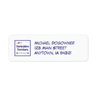 I Love My Yorkshire Terriers (Multiple Dogs) Return Address Label