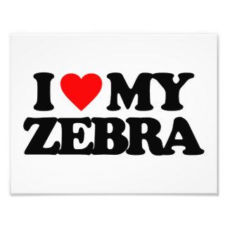 I LOVE MY ZEBRA ART PHOTO