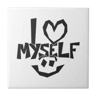 I love myself Smiley Small Square Tile