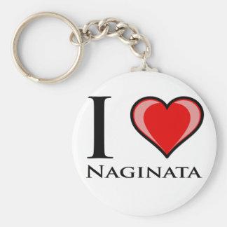 I Love Naginata Key Ring