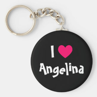 I Love Name Basic Round Button Key Ring