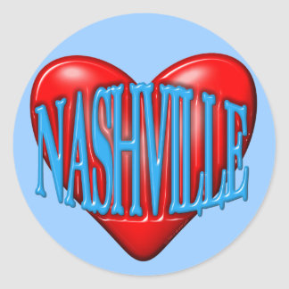 I Love Nashville Classic Round Sticker