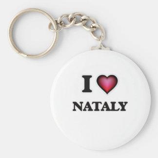 I Love Nataly Basic Round Button Key Ring
