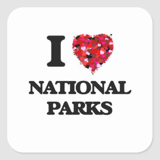 I Love National Parks Square Sticker