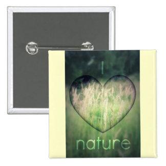 I Love Nature Green Grass Heart Pinback Buttons