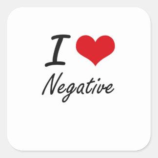 I Love Negative Square Sticker